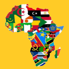 Rendered image of Africa with flags