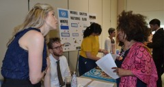 Members of the Health and Human Rights Woking Group provide information at the launch event for the Human Rights website