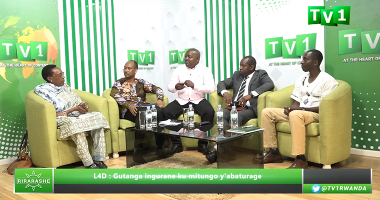 TV1 Rwanda panelists discussing issues faced by citizens in challenging land expropriation decisions.