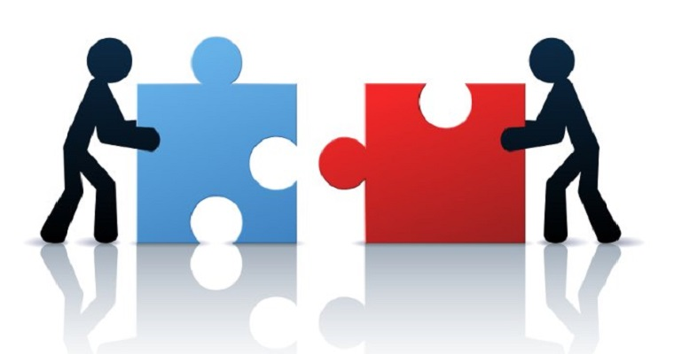 Illustration of people putting puzzle pieces together