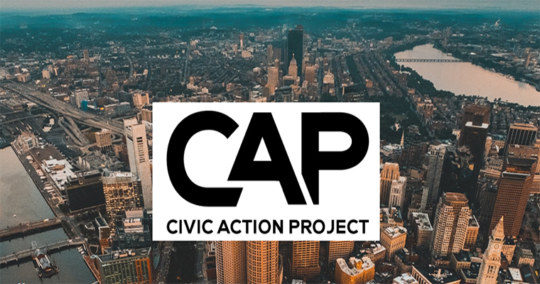 Civic Action Project with City of Boston in the background