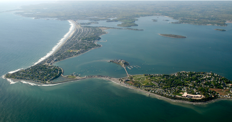 Aerial of Boston Harbor showing Nantasket Beach and Hull. The Outer Harbor Barrier would run from Winthrop to Hull.